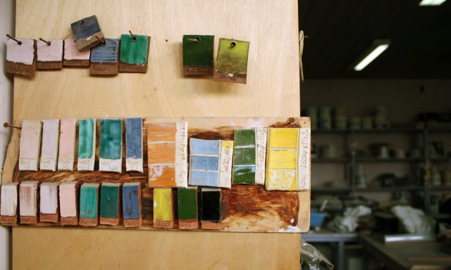 Photography of the color swatch from a pottery workshop